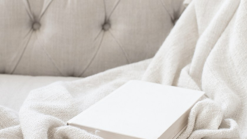 Book and Blanket on Sofa
